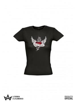 Camiseta Mujer Negra Las Gipsy Rock Corazon